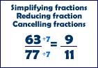Simplifying, reducing or cancelling fractions